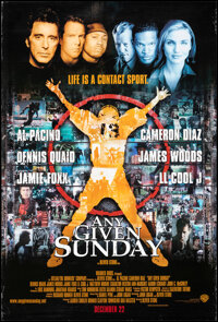 """Any Given Sunday (Warner Bros., 1999). Rolled, Very Fine. One Sheet (27"""" X 40"""") DS Advance. Sports"""