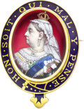 Estate Jewelry:Brooches - Pins, Queen Victoria Commemorative Brooch. English, circa 1880,stamped 10ct . Oval, the center with an enameled portrait of...(Total: 2 Items)