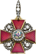 Royal Memorabilia:Russian, Rare Russian Enameled Imperial Order of St. Anne. Late 19thcentury, unmarked. Second Class, designed as a red enamele...(Total: 3 Items)