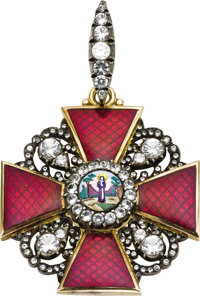 Rare Russian enameled Imperial Order of St. Anne Late 19th century, unmarked  Second Class, designed as a red enamele