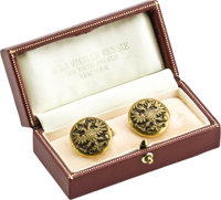 Pair of Imperial Russian Military Buttons Mounted as Cufflinks The buttons circa 1900  Circular, each applied with a