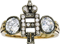 Gentleman's Imperial Russian Nicholas II Ring Circa 1900  A rare Russian 18k gold ring centered by an insignia N II