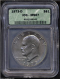 Eisenhower Dollars: , 1973-D $1 MS67 ICG. This high-end Gem is fully lustrous ...