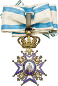 Royal Memorabilia:Other, Serbian Silver-gilt and Enamel Order of Saint Sava. A Commander'sneck badge, the silver-gilt ball-tipped cross decorated ... (Total:2 Items)