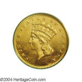 Gold Dollars: , 1867 G$1 MS64 PCGS. Modestly reflective, as is to be ...