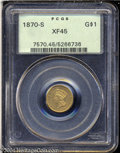 Gold Dollars: , 1870-S G$1 XF45 PCGS. A nicely toned example of this ...