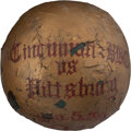 Baseball Collectibles:Balls, 1890 Cincinnati Reds vs. Pittsburgh Alleghenys Game Used T...