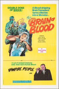 """Brain of Blood/Vampire People Combo (Hemisphere Pictures, 1972). Folded, Very Fine. One Sheet (27"""" X 41"""") Gray..."""