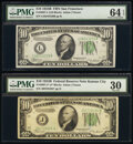 Fr. 2007-J*; L $10 1934B Federal Reserve Notes. PMG Graded Very Fine 30; Choice Uncirculated 64 EPQ. ... (Total: 2 notes...