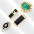 Estate Jewelry:Rings, Diamond, Emerald, Star Sapphire, Onyx, Gold Rings. ... (Total: 4 Items)