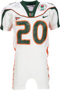 Football Collectibles:Uniforms, 2002 Ed Reed Game Issued & Signed Miami Hurricanes Rose Bowl Backup Jersey....