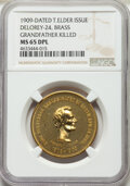 Lincoln, 1909-Dated Abraham Lincoln, Grandfather Killed Issue, Thomas Elder Medal, King-356, DeLorey-24, MS65 Deep Prooflike NGC. Bra...