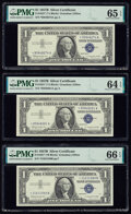 Fr. 1621* $1 1957B Silver Certificate Stars. Three Examples PMG Gem Uncirculated 66 EPQ; Gem Uncirculated 65 EPQ; Choice...
