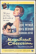 """Movie Posters:Drama, Magnificent Obsession (Universal International, 1954). Folded, Fine+. One Sheet (27"""" X 41""""). Drama.. ..."""