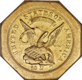 Territorial Gold , 1851 $50 LE Humbert Fifty Dollar, Lettered Edge, 880 Thous. AU58 NGC. K-2, R.5....