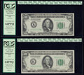 Small Size:Federal Reserve Notes, Changeover Pair Fr. 2152-K/2152-K $100 1934 Mule/1934 Non-Mule Federal Reserve Notes. PCGS Very Choice New 64PPQ.. ... (Total: 2 notes)