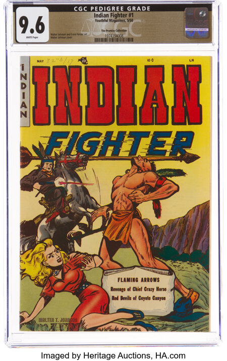 Indian Fighter #1 The Promise Collection Pedigree (Youthful Magazines, 1950) CGC NM+ 9.6 White pages....