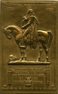1799-Dated George Washington Equestrian Plaquette, Uncertified. Baker-F904. Bronze, 57x92 mm. Originally produced in 193...