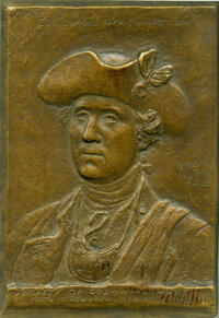 1909 Washington Society of Colonial Wars Plaque, Uncertified. Baker-Y200. Bronze, 92x130 mm. Dies by Kelly After Peale...