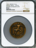 Expositions and Fairs, 1934 Century of Progress Expo, Official Medal - 1934 Edition, MS66 NGC. Bronze, 57mm....