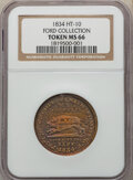 Hard Times Tokens, 1834 Token Running Boar, Low-9, DeWitt-CE-1834-10, HT-10, MS66 NGC. Brass, plain edge, 28.5 mm. Ex: Ford Collection. By far...