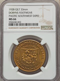 Expositions and Fairs, 1928 Medal Pacific Southwest Exposition, Dobyns Footwear, MS66 NGC. Gilt, 33 mm....