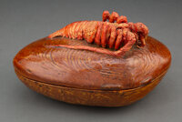 A Japanese Lacquered Wood Covered Clam-Form Box with Lobster-Form Finial Marks: Linkoku Zo 5-3/8 x 9-3/4 x 7-1/8 inche...