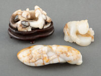 A Group of Three Chinese Jade Carvings 3-1/4 x 1-3/4 x 1 inches (8.3 x 4.4 x 2.5 cm) (largest, horse buckle)  ... (Total...