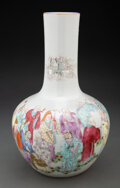 Ceramics & Porcelain, A Chinese Famille Rose Stick Vase Marks: six-ch...