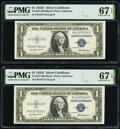 Fr. 1615 $1 1935F Silver Certificates. Two Consecutive Examples. PMG Superb Gem Unc 67 EPQ. ... (Total: 2 notes)