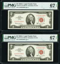 Fr. 1514 $2 1963A Legal Tender Notes. Two Consecutive Examples. PMG Superb Gem Unc 67 EPQ. ... (Total: 2 notes)