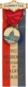 Political:Ribbons & Badges, Calvin Coolidge: Vice Presidential Notification Badge. ...