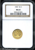 Liberty Quarter Eagles: , 1866 $2 1/2 MS65 NGC. Boldly struck, with bright, copper-...