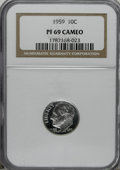 Proof Roosevelt Dimes: , 1959 10C PR69 Cameo NGC. NGC Census: (49/0). PCGS Population(15/0). Numismedia Wsl. Price for NGC/PCGS coin in PR69: $200...