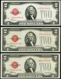 Fr. 1502 $2 1928A Legal Tender Note. Very Fine; Fr. 1505 $2 1928D Legal Tender Notes. Two Consecutive Examples. Crisp Un...
