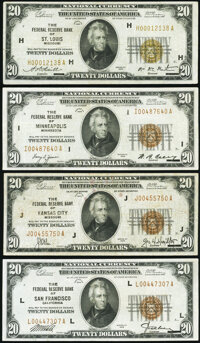 Fr. 1870-H; I; J; L $20 1929 Federal Reserve Bank Notes. Very Fine or Better. ... (Total: 4 notes)