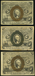 Fr. 1232 5¢ Second Issue Very Fine; Fr. 1233 5¢ Second Issue Two Examples Fine or Better. ... (Total: 3 notes)