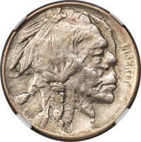 (1913) Type One Buffalo Nickel -- Double Struck, Rotated in Collar -- AU50 NGC