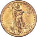 High Relief Double Eagles, 1907 $20 High Relief, Wire Rim AU55 PCGS. CAC....