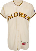 Baseball Collectibles:Uniforms, 1969 Billy McCool Game Worn Inaugural Season San Diego Padres Jersey with MLB 100th Anniversary Patch!...