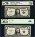 Fr. 1607 $1 1935 Silver Certificates. Two Examples. PCGS Gem New 65PPQ; PMG Gem Unc 65 EPQ. ... (Total: 2 notes)