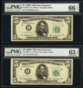 Small Size:Federal Reserve Notes, Fr. 1965-L; L* $5 1950D Federal Reserve Notes. PMG Graded Gem Uncirculated 66 EPQ; Gem Uncirculated 65 EPQ.. ... (Total: 2 notes)