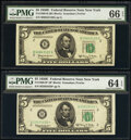 Small Size:Federal Reserve Notes, Fr. 1966-B; B* $5 1950E Federal Reserve Notes. PMG Graded Gem Uncirculated 66 EPQ; Choice Uncirculated 64 EPQ.. ... (Total: 2 notes)