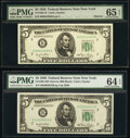 Small Size:Federal Reserve Notes, Fr. 1961-B $5 1950 Narrow Federal Reserve Notes. B-A and B-B Blocks. PMG Graded Gem Uncirculated 65 EPQ; Choice Uncirculated ...