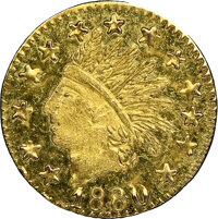 """1880-Dated California Gold Token """"1/4"""", Indian - Wreath #7, Round, MS65 Prooflike NGC. 9.5 mm"""