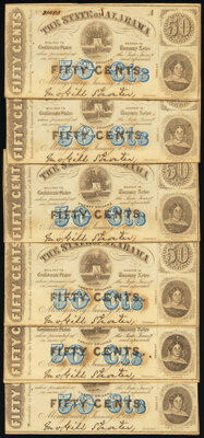 Montgomery, Alabama 50¢ Jan. 1, 1863 Cr. 3. Cut Sheet of 15; Three Examples. ... (Total: 18 notes)