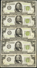 Fr. 2102-B $50 1934 Light Green Seal Federal Reserve Notes. Five Examples. Fine or Better. ... (Total: 5 notes)