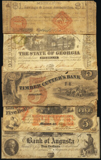A Quintet of State and Local Obsolete Notes from Georgia Good or Better. ... (Total: 5 notes)