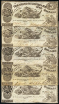 Shreveport, LA- State of Louisiana $5 Mar. 10, 1863 Cr. 14 Five Examples Fine or Better. ... (Total: 5 notes)
