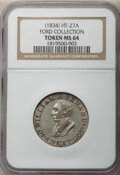 Hard Times Tokens, (1834) William H. Seward, Glory & Pride, Low-14A, DeWitt-CE-1834-7, HT-27A, R.5, MS64 NGC. Silvered brass, plain edge, 27 mm...
